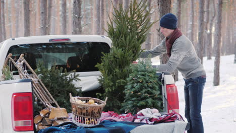 A-Young-Man-Is-Shipping-A-New-Year-Tree-In-The-Back-Of-A-Pickup-Truck-Preparing-For-Christmas