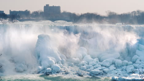 American-Side-Of-Niagara-Falls-In-Winter-The-Buildings-Of-Hotels-And-Entertainment-Centers-Are-Visib