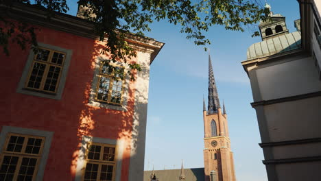 View-Of-The-Famous-Church-With-An-Iron-Spire-In-Stockholm-Steadicam-Shot