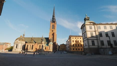 View-Of-The-Famous-Church-With-An-Iron-Spire-In-Stockholm-4k-Video