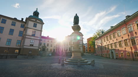 Jarl-Birger-Square-With-A-Monument-To-The-Founder-Of-Stockholm-And-The-Palace-Of-Wrangel-The-Sun-Shi