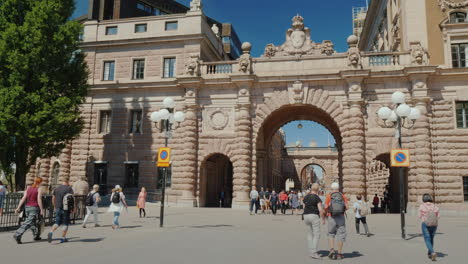 Arch-Of-Parliament-And-The-Famous-Drottninggatan-Street-In-Stockholm-Popular-Place-Among-Tourists