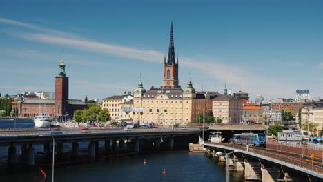 View-Of-Stockholm-On-A-Sunny-Day-Subway-Train-Leaves-The-Tunnel