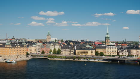 Panorama-Of-The-City-Of-Stockholm-A-Clear-Sunny-Day-In-The-Capital-Of-Sweden-4k-Video
