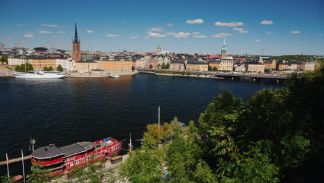 View-Of-The-City-Stockholm-In-Sweden-Beautiful-City-On-A-Clear-Summer-Day-Wide-Lens-Video