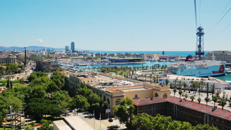View-From-Above-Of-Barcelona-s-Bustling-Port