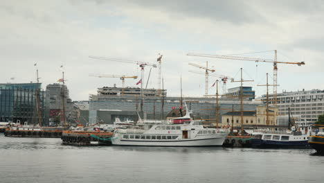 Harbor-In-The-City-Of-Oslo-Many-Ships-Are-Moored-At-The-Pier