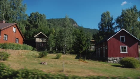 Beautiful-Landscape-Of-Rural-Norway-View-From-The-Window-Of-The-Bus-4k-Video