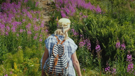A-Woman-With-A-Backpack-Walks-Along-A-Picturesque-Path-Among-The-Flowers-Of-Willow-Tea-Summer-In-Nor