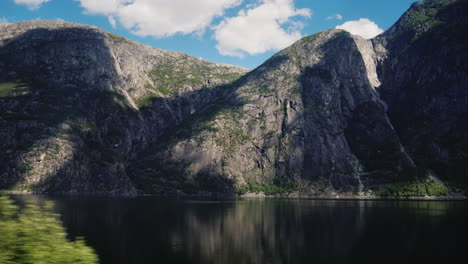 Fjord-And-Mountains---Nature-Of-Norway-View-From-The-Window-Of-The-Vehicle-4k-Video