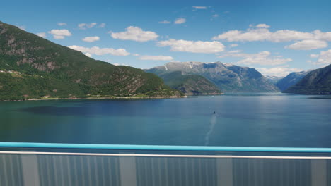 Go-Along-The-Bridge-Through-The-Scenic-Fjord-In-Norway-View-From-The-Car-Window-4k-Video