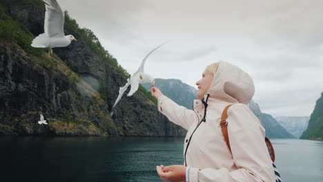 Young-Woman-Feeding-Her-Gulls-From-A-Cruise-In-The-Fjords-Of-Norway-4k-Video