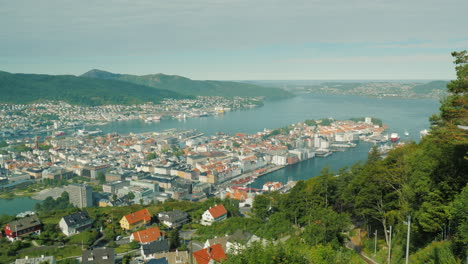 Beautiful-City-Of-Bergen-In-Norway-View-From-The-Upcoming-Wagon-Train-Car-4k-Video
