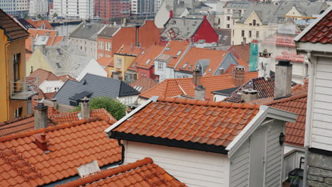The-Roofs-Of-The-Old-Part-Of-Bergen-A-Popular-Tourist-City-In-Norway-4k-Video