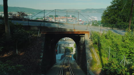 View-From-The-Riding-Up-The-Cable-Car-To-The-City-Of-Bergen-In-Norway-4k-Video