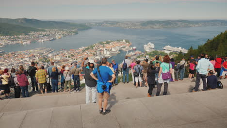 A-View-Of-The-City-Of-Bergen-Below-Are-The-Marinas-And-Large-Cruise-Ships-4k-Video