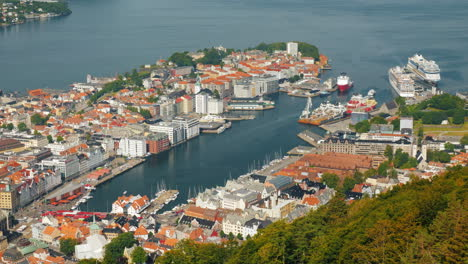 View-From-Above-The-City-Of-Bergen-And-The-Port-With-Sea-Liners