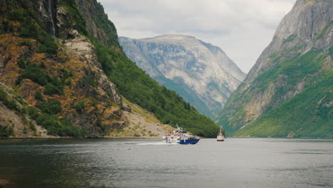 Small-Boats-In-The-Waters-Of-A-Beautiful-Fjord-In-Norway-4k-Video