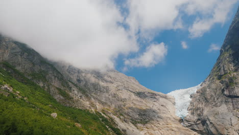 Briksdal-Glacier-In-The-Summer-Ice-Remained-Only-On-The-Top-Of-The-Mountain-The-Glacier-Is-Known-For