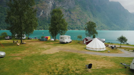 Go-Along-The-Campsite-On-The-Shore-Of-The-Fjord-In-Norway