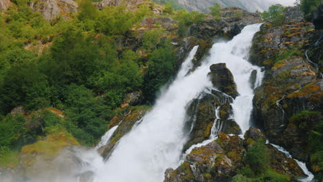 Beautiful-Waterfall-From-The-Waters-Of-The-Glacier-The-Nature-Of-Norway-And-Scandinavia