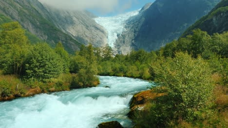 Mountain-River-And-Brixdal-Glacier-In-The-Background-The-Incredible-Landscapes-Of-Norway