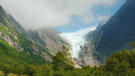 White-Ice-On-Top-Of-The-Mountain---Briksdal-Glacier-In-Norway-Popular-Among-Tourists-Place
