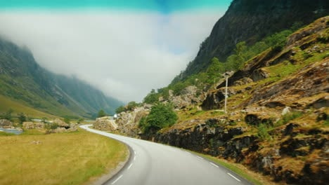 Go-Along-The-Scenic-Road-Among-The-Mountains-Of-Norway-First-Person-View
