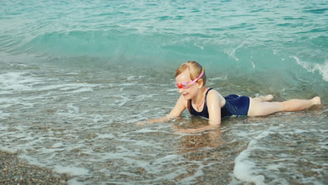 Funny-Girl-Having-Fun-In-The-Water-Of-The-Surf-Rest-On-The-Sea-Concept-Slow-Motion-Video
