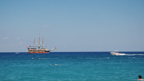 The-Black-Sea-Near-Kemer---A-Stylized-Pirate-Ship-And-Motor-Boats-All-For-The-Entertainment-Of-Touri