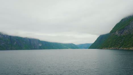 View-From-A-Board-Of-A-Cruise-Ship-On-A-Picturesque-Fjord-In-Norway-4k-Video
