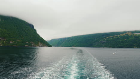 View-From-The-Stern-Of-The-Ship-To-The-Picturesque-Norwegian-Fjord-The-Majestic-Nature-Of-Norway-A-C