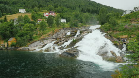 Beautiful-Waterfall-In-The-Village-Of-Flam-In-Norway-4k-Video