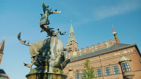 Fountain-Bull-Tears-A-Dragon-In-The-Center-Of-Copenhagen-Near-The-Town-Hall-4k-Video