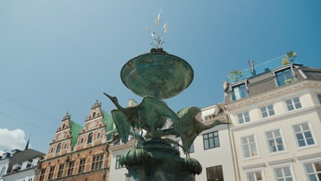 Stork-Fountain-Is-Located-On-Amagertorv-In-The-Center-Of-Copenhagen-Denmark