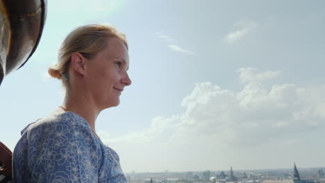The-Woman-Admires-The-View-From-A-Height-To-Copenhagen-It-Stands-On-Top-Of-The-Church-Of-The-Savior-