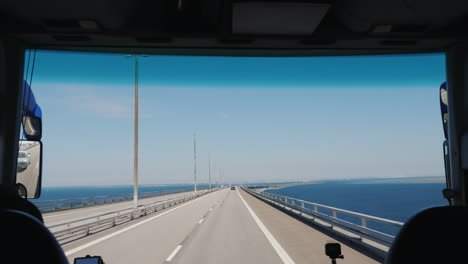 Drive-Along-The-Oresund-Bridge-Between-Denmark-And-Sweden