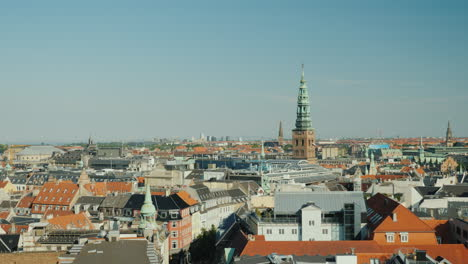 Top-View-Of-The-Historic-Center-Of-Copenhagen-4k-Video