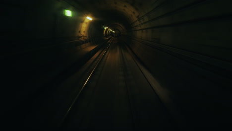 Ride-In-A-Subway-Car-Without-A-Driver---View-From-The-First-Car-To-The-Tunnel