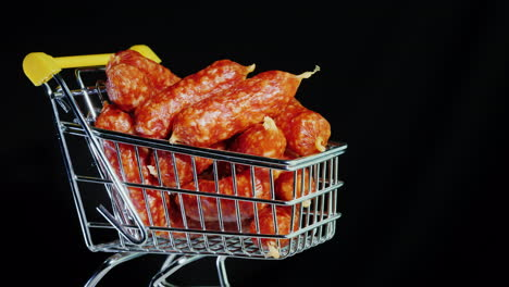 Sausages-In-A-Small-Trolley-4k-Video