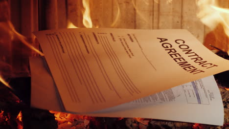 Burning-Documents-In-The-Fireplace-4k-Video