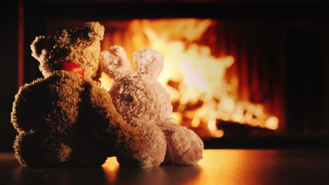 Two-Friends-A-Rabbit-And-A-Bear-Bask-Near-The-Fireplace-Hugging---Friendship-And-Comfort-In-The-Hous