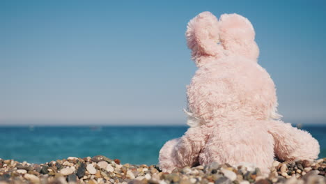 The-Toy-Hare-Is-Resting-On-The-Seashore-Takes-Sun-Baths-4k-Video