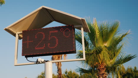 The-Thermometer-s-Scoreboard-On-The-Beach-Shows-The-Temperature-Is-25-Degrees-Celsius