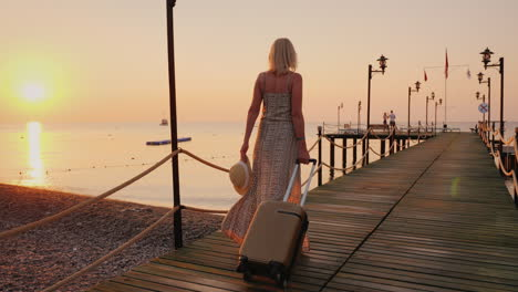 A-Woman-In-A-Developing-Dress-Is-Hurrying-Straight-From-The-Plane-To-The-Sea-Pier-To-Enjoy-Peace-And