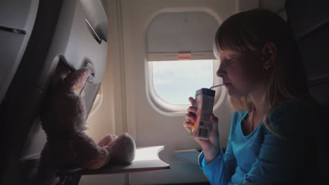 The-Child-In-The-Cabin-Of-The-Plane---Drinking-Juice-From-The-Tube-With-Her-Flying-Toy---A-Hare-4k-V