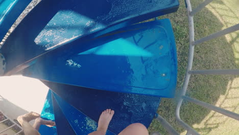 Legs-Climbing-Up-The-Stairs-On-The-Water-Slide-In-The-Water-Park