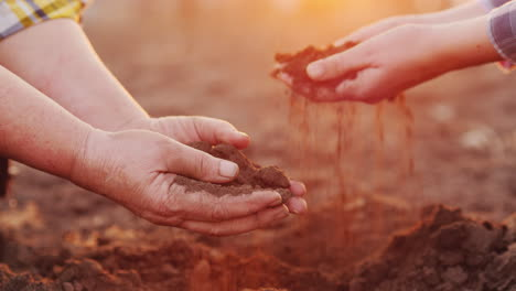 The-Hands-Of-Two-Farmers-Hold-The-Soil-Over-The-Plowed-Field-Organic-Production-From-Your-Farm