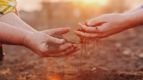 Two-Farmers-Hold-Handfuls-Of-Soil-From-The-Field-Organic-Farming-Concept