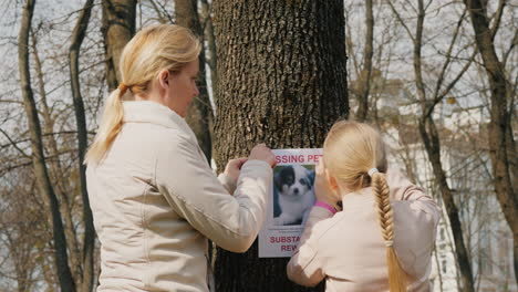 A-Woman-With-A-Child-Attaches-A-Poster-With-Information-About-The-Missing-Dog